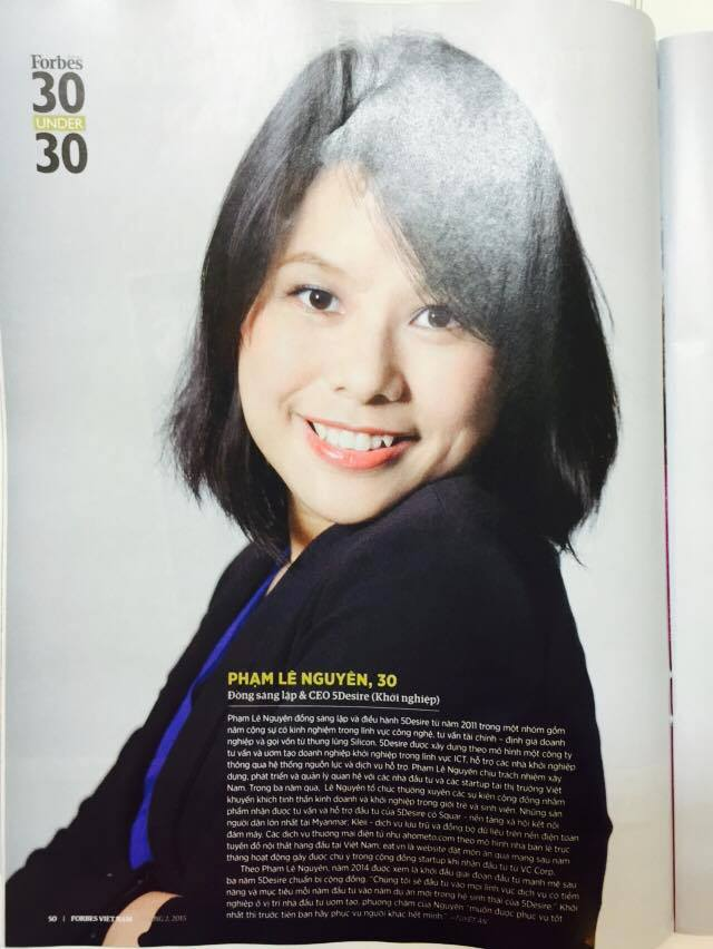 Pham Le Nguyen - Full page Forbes Vietnam 30under30